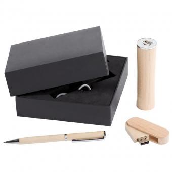 Набор Wood: аккумулятор, флешка и ручка - 7114